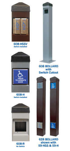 608 & 628 Series Heavy Duty Push Plate Switch Bollards